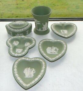 Wedgwood Green Jasper 7 pieces Vase Trinket Box Pin Dishes