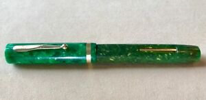 Antique Vtg W.A.Sheaffer Flat Top Pen Green Jade Radite Gold Lifetime White Dot