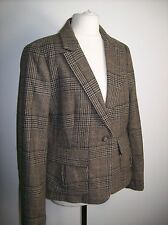 ZARA BROWN CHECKED FITTED BLAZER JACKET WITH ELBOW PATCHES SIZE L