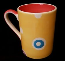 Whittard Coffee Mug 10cm Yellow with Coloured Circles n