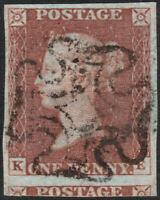1841 SG8 1d RED BROWN PLATE 30 VERY FINE USED 4 LARGE MARGINS MALTESE CROSS (KE)