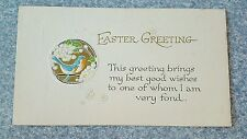 Antique Easter Greetings Card With Blue Birds