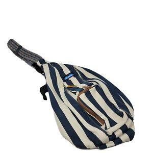 KAVU Rope Sling Bag Crossbody Striped Blue White Backpack