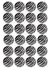 24 Zebra Print Wafer / Rice Paper Cupcake Topper Edible Fairy Cake Bun Toppers