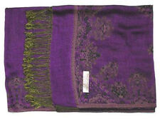 Double Layer Purple / Tan Pashmina & Silk Shawl Scarf