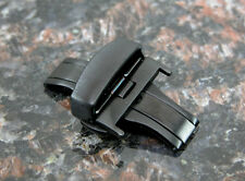 BLACK 22MM Deployment Buckle Double Clasp BRUSHED Stainless Steel
