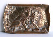 Antique Copper (Art Nouveau) Lion Tray / Card Receiver Jno. Williams Inc NY