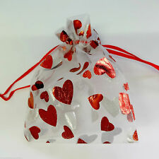 UK 25  x HEART ORGANZA BAG jewellery packing WEDDING PARTY FAVOR pouch XMAS gift