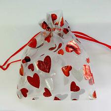 Reino Unido 25 X Bolsa De Organza Corazón Joyería embalaje Boda Fiesta Sorpresa Bolsa Regalo De Navidad