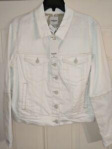 Kensie Jeans Women's White Jean Jacket Silver Button Front Cotton Blend Denim M