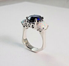 STERLING SILVER 12X10 MM OVAL BLUE SAPPHIRE RING WITH TWO 8X6 MM OPALS  SIZE 7