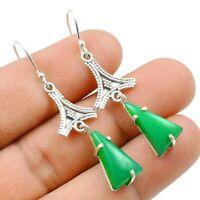 Green Onyx Gemstone Dangle Earrings Solid 925 Sterling Silver Jewelry
