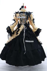 a-188 Vocaloid RIN Cosplay Victorian Kostüm Gothic Ball Abend-Kleid gelb schwarz