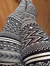 TAN IVORY BLACK AZTEC TRIBAL COTTON leggings pants S M L PLUS 1X