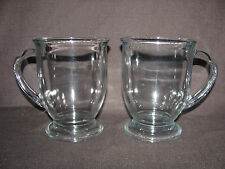 Set of 2 Anchor Hocking Clear Glass Footed 16 oz Mugs