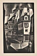 Howard Cook,original wood engraving,Paris Street,1930,signed in block,ltd 2000