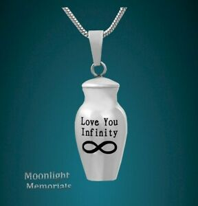 New Love You Infinity Urn Cremation Pendant Ashes Silver Memorial Necklace