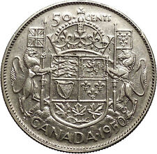1950 CANADA King George VI of Britain Silver 50 Cent Coin Coat of Arms i53097