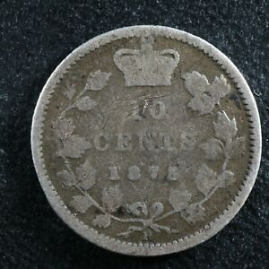10 cents 1875H Canada Queen Victoria silver c ¢ dime G-4 Problems