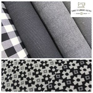 """Premium Wool, Black & White Collection, Double Sided Pattern, Polywool, 60"""" Wide"""