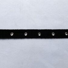 3Y Black Corset Cotton Twill Eyelet Tape Silver Grommet Fastening Tape 2cm Wide