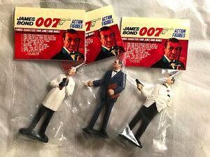 Vintage GILBERT 007 James Bond Figure LOT M Doctor No Header Cards 1965