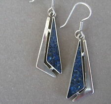 TAXCO MEXICO - VINTAGE 925 SILVER & SODALITE CHIP INLAY EARRINGS
