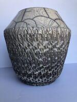 Raku Vase Crackle Beige White Pottery Signed Studio Art Eclectic Handmade Modern