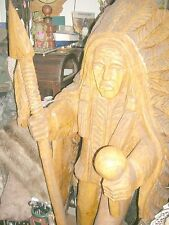 "Antique 5ft Native American Chief Carved Cedar Statue ""Local Pick Up"""