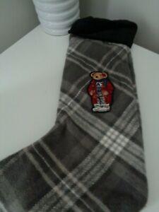 BNWT  Polo Ralph Lauren Grey Check Christmas Bear Stocking