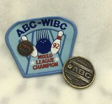 Vintage 1992 ABC WIBC Bowling Mixed League Champion Patch Pin Coin Medal