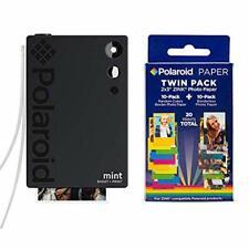 Polaroid Mint Instant Print Digital Camera (Black), W/ 20 Pack Zink Zero Ink 2x3