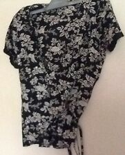 Stunning asos black beige floral print cotton wrap around top Sequins XS by Vila