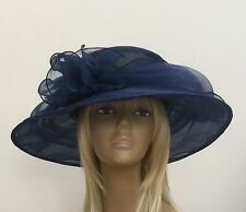 New Womens Cobalt Blue Organza Wedding Hat Mother Of The Bride/Groom Ascot Races