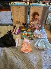 """Madame Alexander 8"""" Doll Trunk/case, clothes, shoes/boots, hair piece, good used"""