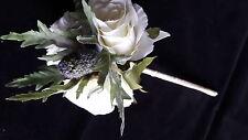 FREE P&P! New Flower Girls Wand - Ivory Roses, Scottish Thistle & Satin Ribbon
