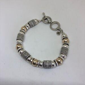 Silpada Sterling Silver & 14k Gold Beaded Toggle Bracelet