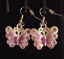 Girls Cute Purple Pink Enamel Rhinestone Butterfly Earrings & Necklace Gift Set