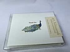 PUNCH STUDIO Gold Foil Peacock Thank You Notecards Set of 10 NIB