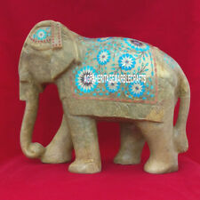 12'' Marble Inlaid Elephant Figurine Turquoise Pietra Dura Marquetry Decor H3763