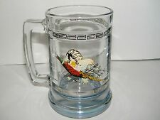 PRINCESS HOUSE BLUE TINT BOTTOM PHESANT BEER STEIN MUG GLASS 14 Oz. Vintage