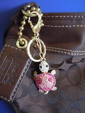 FABULOUS PINK TURTLE ! Rhinestone & Metal Alloy Purse Charm Accessory / Keychain