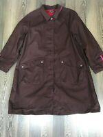 Gudrun Sjoden Sjödén Burgundy Coat Jacket Size L With 2 Front Pockets