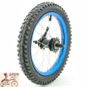 """OEM COASTER BRAKE 16""""  BLUE STEEL BICYCLE REAR WHEEL WITH TIRE AND TUBE"""