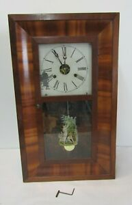 "ANTIQUE E.N. WELCH CLOCK NO 9 DUAL WEIGHTED CLOCK 26"" HT X 16"" X 4"" WELCH CLOCK"