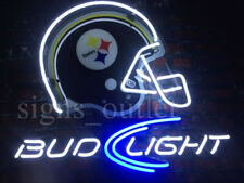 "Pittsburgh Steelers Bud Light Helmet Beer Bar Man Cave Neon Light Sign 20""x16"""