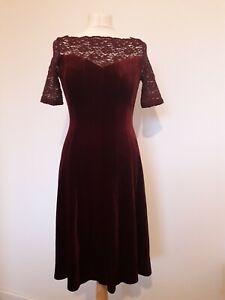 M&S Collection Burgundy Red Velvet Skater Dress 50s 60s Style Lace Yoke Sz 6
