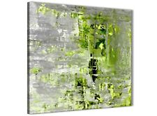 Lime Green Grey Abstract Painting Wall Art Print Canvas - 49cm Square - 1s360s