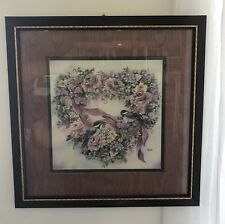 Vintage 1980s Home Interiors & Gifs Chickadee and Flowers Heart Wreath