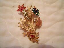 enameled  Seashell crab fish starfish sea horse ocean earring coral pin